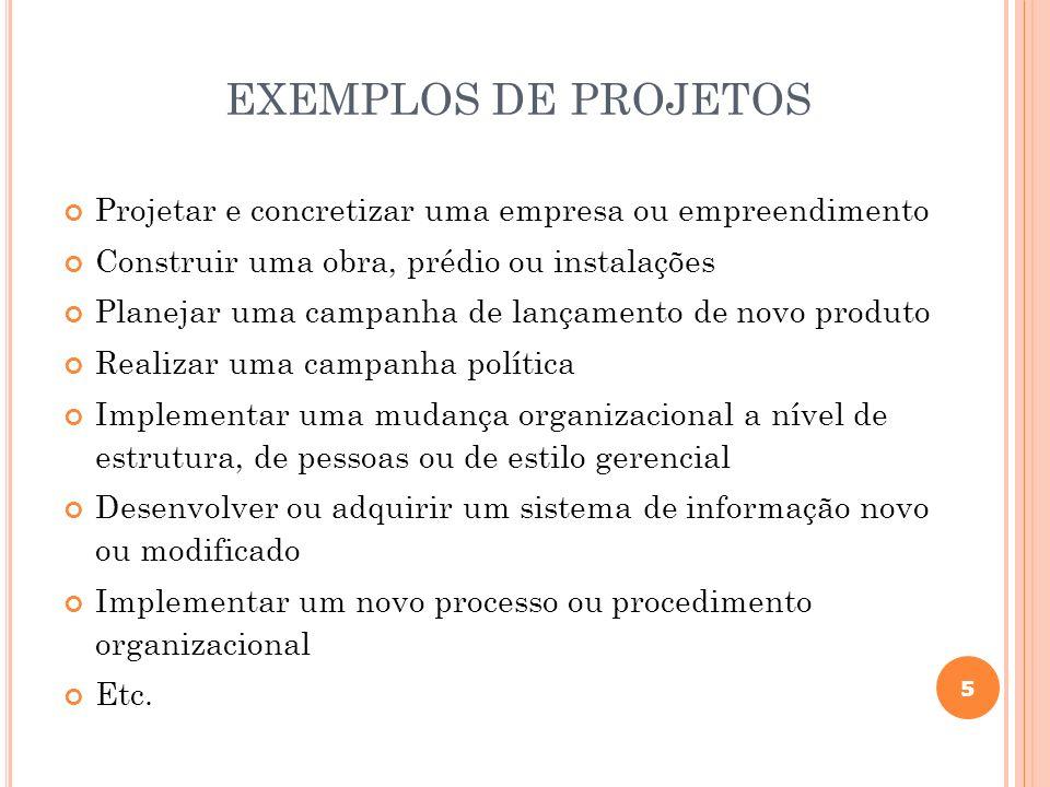 5 EXEMPLOS DE PROJETOS Projetar e concretizar uma empresa ou empreendimento Construir uma obra, prédio ou instalações Planejar uma campanha de lançame