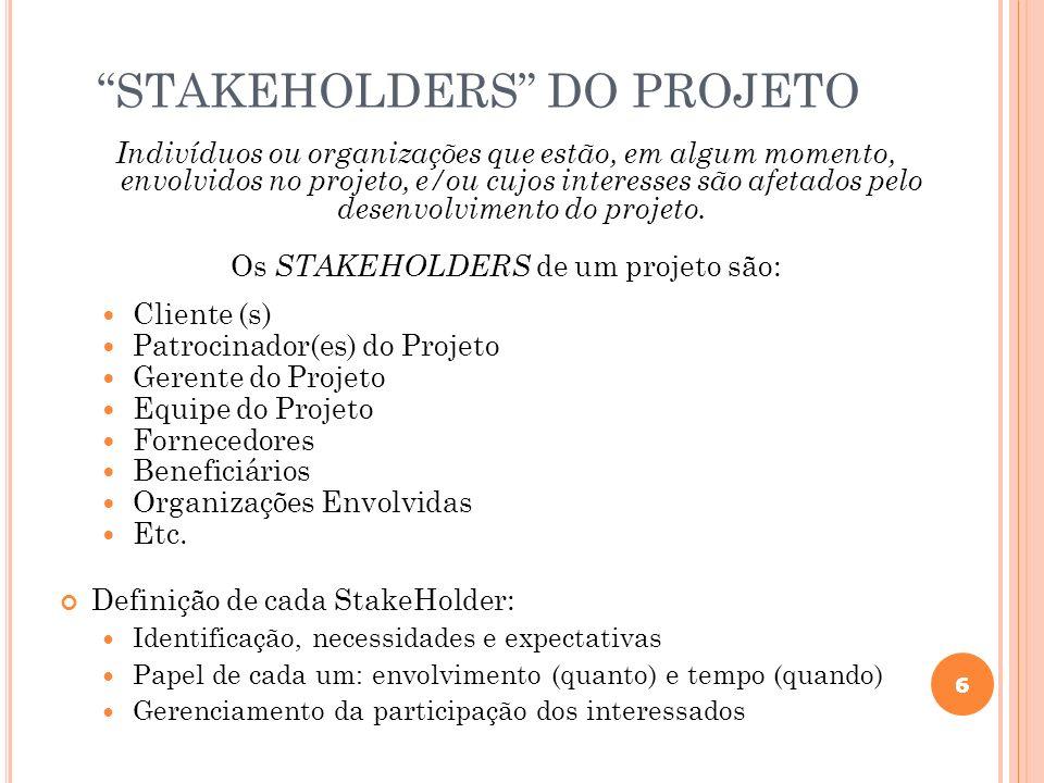 6 STAKEHOLDERS DO PROJETO Indivíduos ou organizações que estão, em algum momento, envolvidos no projeto, e/ou cujos interesses são afetados pelo desen