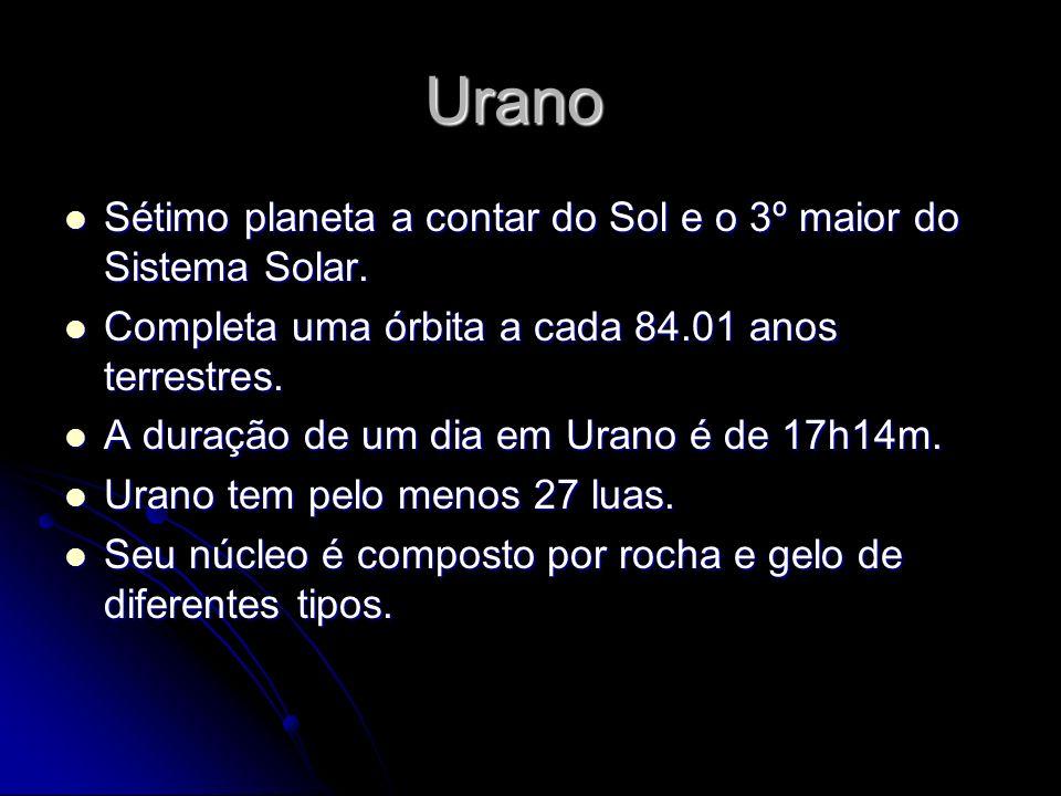 Urano Sétimo planeta a contar do Sol e o 3º maior do Sistema Solar. Sétimo planeta a contar do Sol e o 3º maior do Sistema Solar. Completa uma órbita