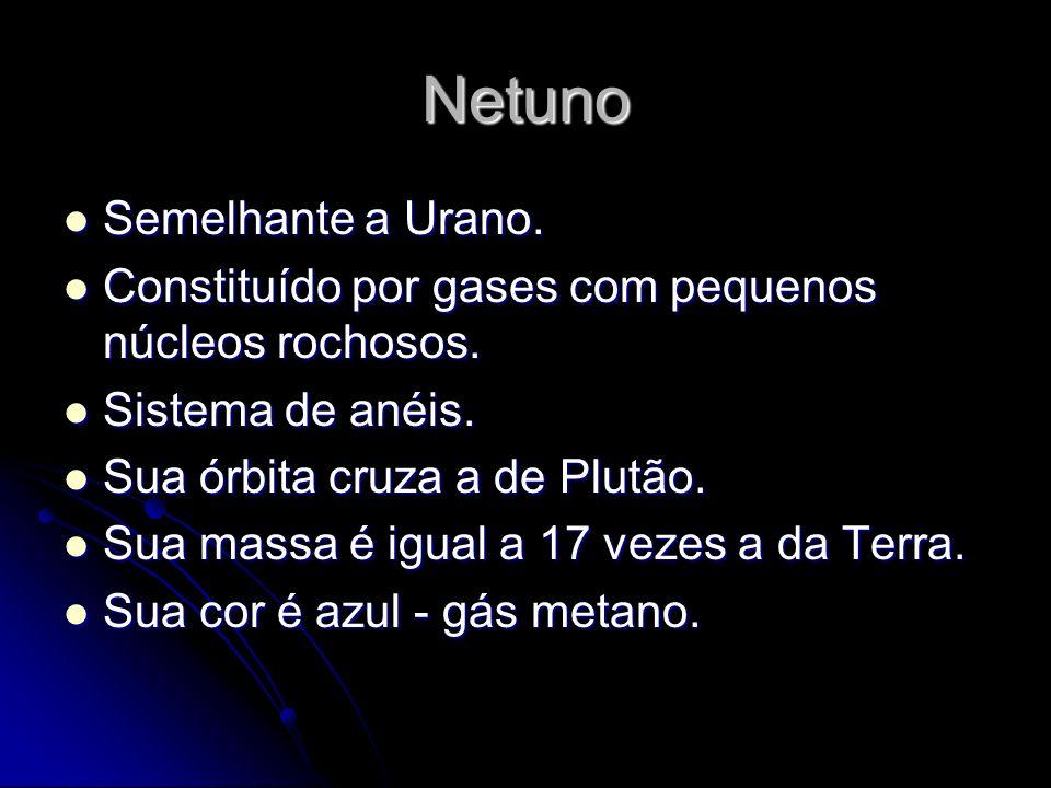 Netuno Semelhante a Urano. Semelhante a Urano. Constituído por gases com pequenos núcleos rochosos. Constituído por gases com pequenos núcleos rochoso