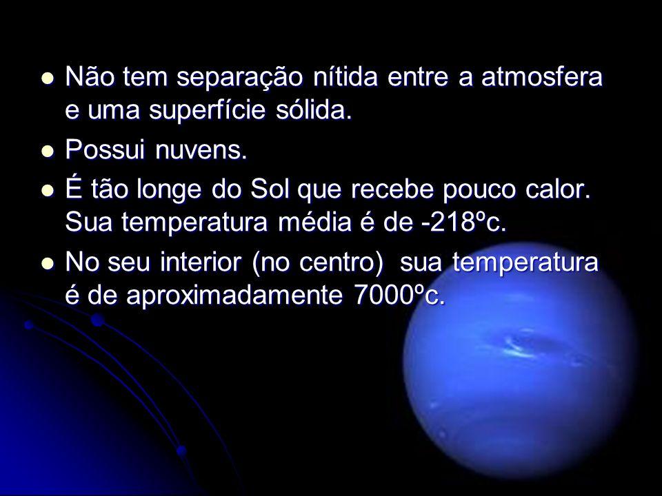 Não tem separação nítida entre a atmosfera e uma superfície sólida. Não tem separação nítida entre a atmosfera e uma superfície sólida. Possui nuvens.