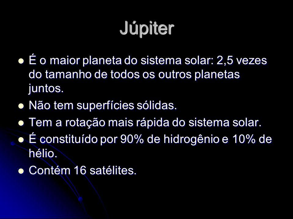 Júpiter É o maior planeta do sistema solar: 2,5 vezes do tamanho de todos os outros planetas juntos. É o maior planeta do sistema solar: 2,5 vezes do