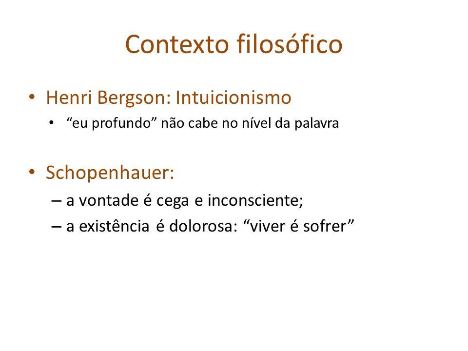 Contexto filosófico Henri Bergson: Intuicionismo eu profundo não cabe no nível da palavra Schopenhauer: – a vontade é cega e inconsciente; – a existên