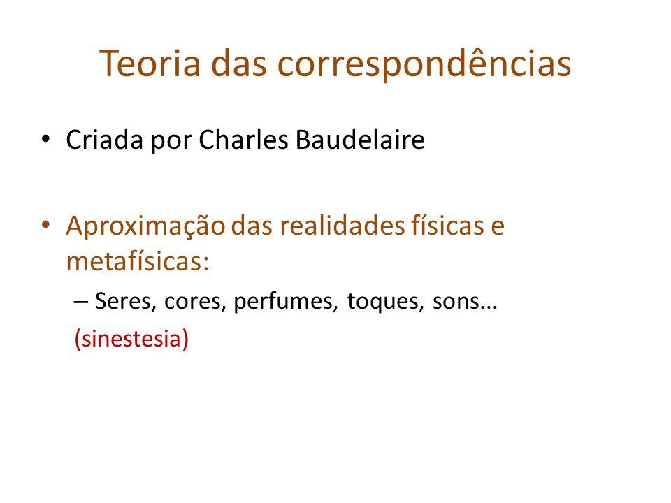 Teoria das correspondências Criada por Charles Baudelaire Aproximação das realidades físicas e metafísicas: – Seres, cores, perfumes, toques, sons...