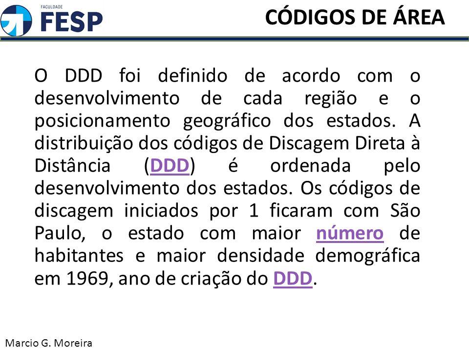 O DDD foi definido de acordo com o desenvolvimento de cada região e o posicionamento geográfico dos estados. A distribuição dos códigos de Discagem Di