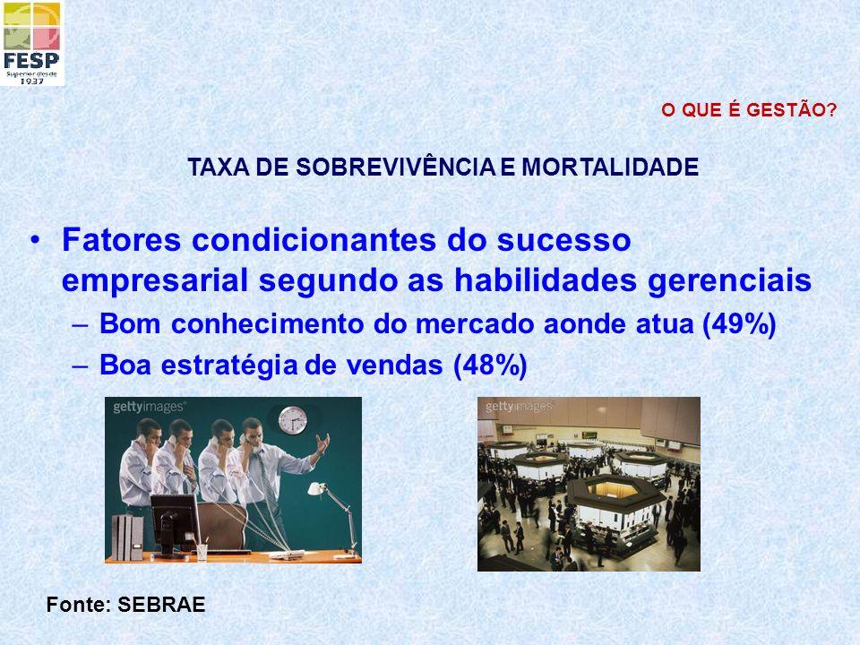 Fatores condicionantes do sucesso empresarial segundo as habilidades gerenciais –Bom conhecimento do mercado aonde atua (49%) –Boa estratégia de venda