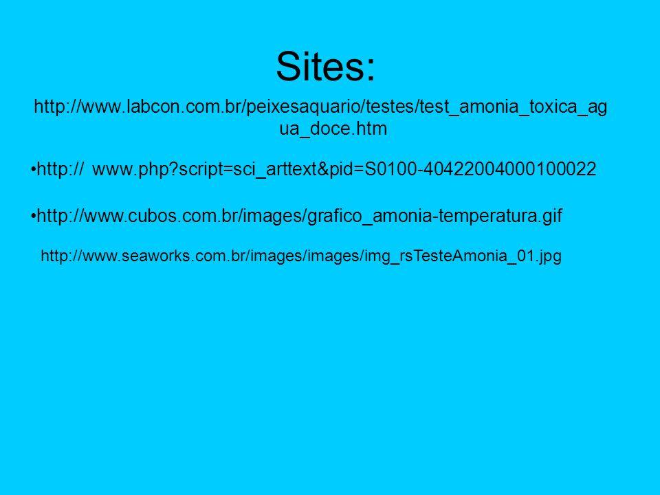 Sites: http://www.labcon.com.br/peixesaquario/testes/test_amonia_toxica_ag ua_doce.htm http:// http://www.cubos.com.br/images/grafico_amonia-temperatu