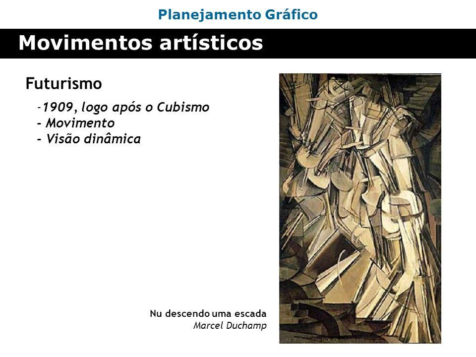 Planejamento Gráfico Movimentos artísticos Futurismo -1909, logo após o Cubismo - Movimento - Visão dinâmica Nu descendo uma escada Marcel Duchamp