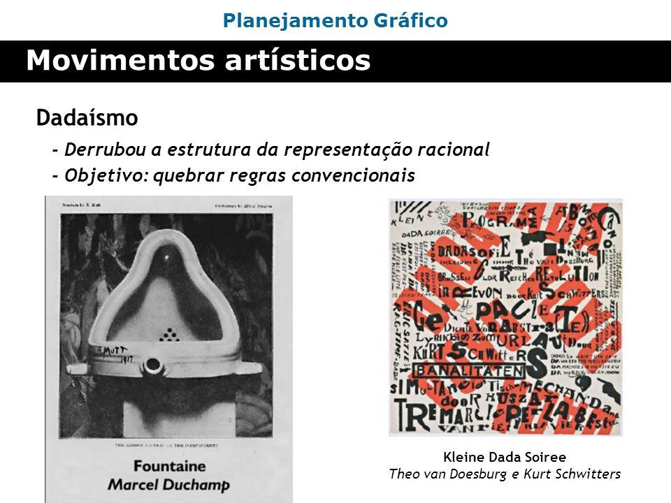 Planejamento Gráfico Movimentos artísticos Dadaísmo - Derrubou a estrutura da representação racional Kleine Dada Soiree Theo van Doesburg e Kurt Schwi