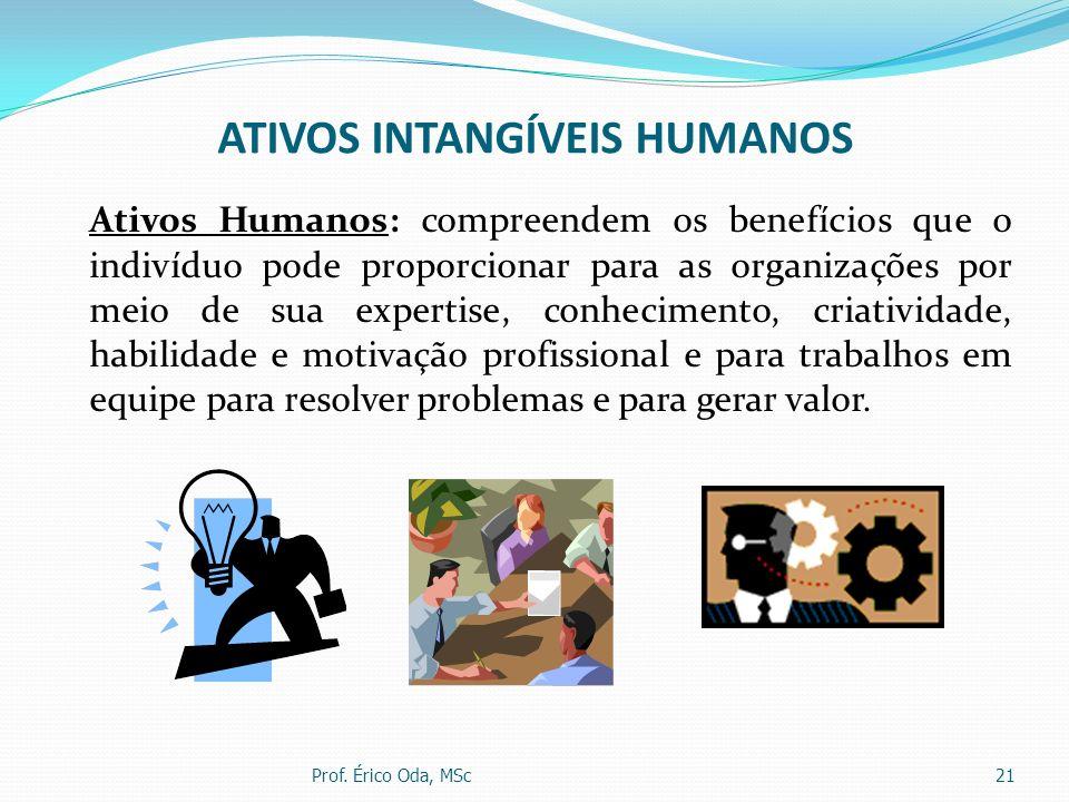 ATIVOS INTANGÍVEIS HUMANOS Ativos Humanos: compreendem os benefícios que o indivíduo pode proporcionar para as organizações por meio de sua expertise,