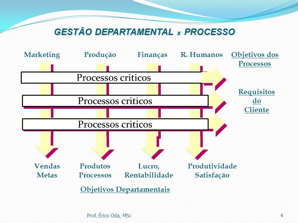 4 GESTÃO DEPARTAMENTAL x PROCESSO Objetivos Departamentais Produtividade Satisfação ProduçãoR. HumanosMarketingFinanças Produtos Processos Lucro, Rent