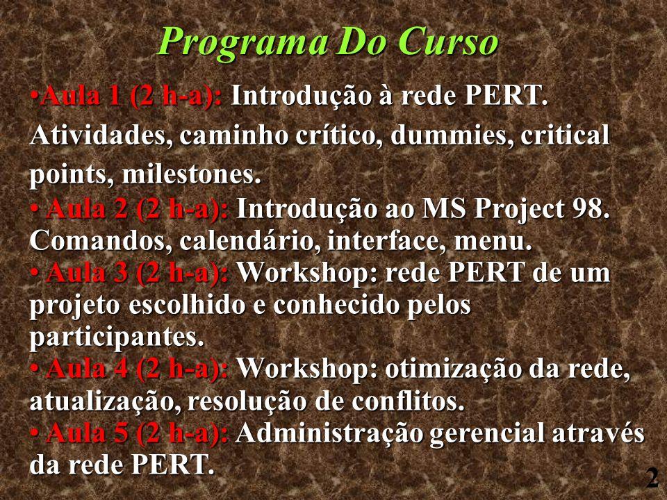 2 Programa Do Curso Aula 1 (2 h-a): Introdução à rede PERT. Atividades, caminho crítico, dummies, critical points, milestones.Aula 1 (2 h-a): Introduç