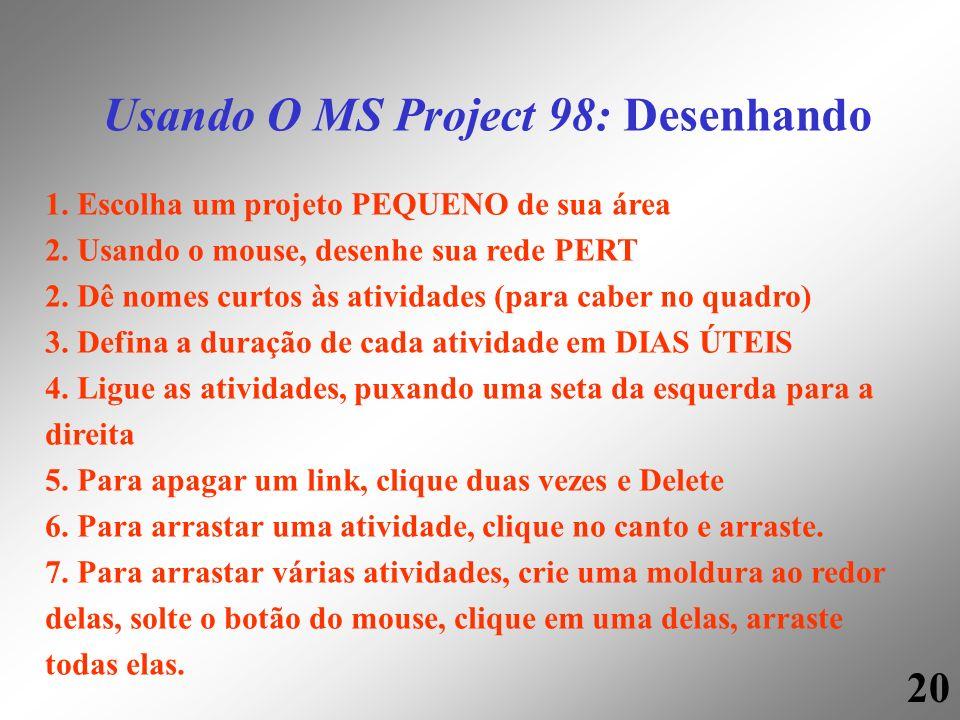 20 Usando O MS Project 98: Desenhando 1. Escolha um projeto PEQUENO de sua área 2. Usando o mouse, desenhe sua rede PERT 2. Dê nomes curtos às ativida
