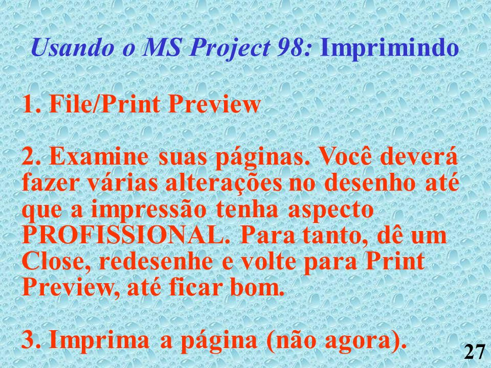 27 Usando o MS Project 98: Imprimindo 1. File/Print Preview 2. Examine suas páginas. Você deverá fazer várias alterações no desenho até que a impressã