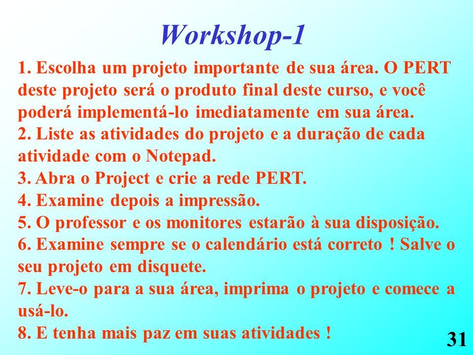 31 Workshop-1 1. Escolha um projeto importante de sua área. O PERT deste projeto será o produto final deste curso, e você poderá implementá-lo imediat