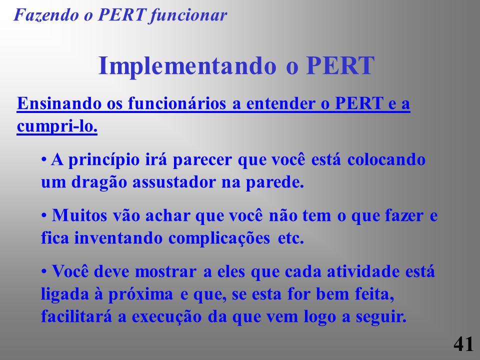 41 Implementando o PERT Ensinando os funcionários a entender o PERT e a cumpri-lo. A princípio irá parecer que você está colocando um dragão assustado