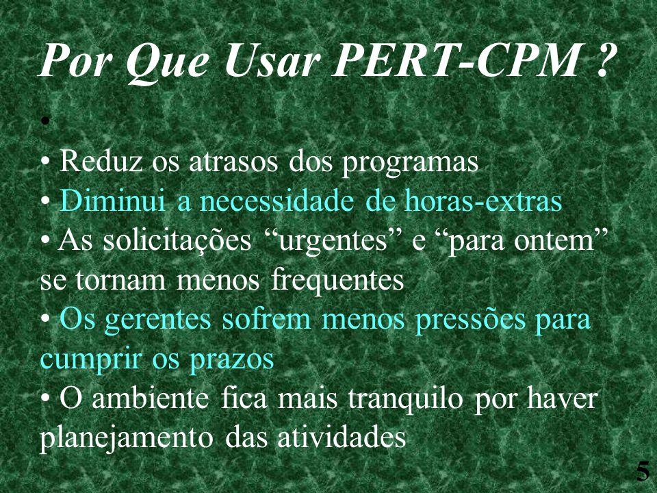 5 Por Que Usar PERT-CPM ? Reduz os atrasos dos programas Diminui a necessidade de horas-extras As solicitações urgentes e para ontem se tornam menos f