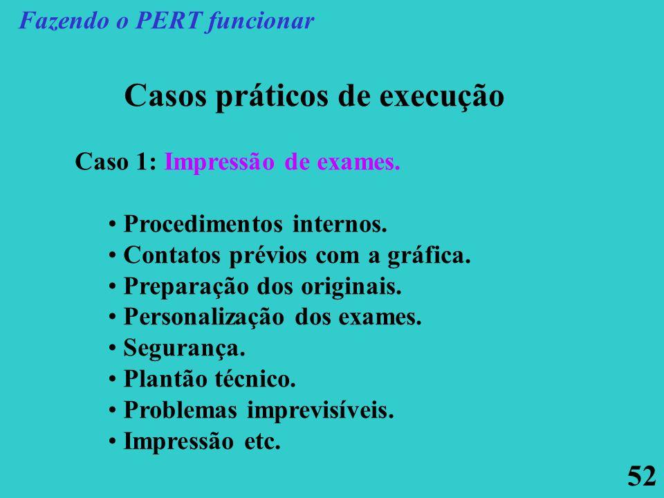 52 Casos práticos de execução Caso 1: Impressão de exames. Procedimentos internos. Contatos prévios com a gráfica. Preparação dos originais. Personali