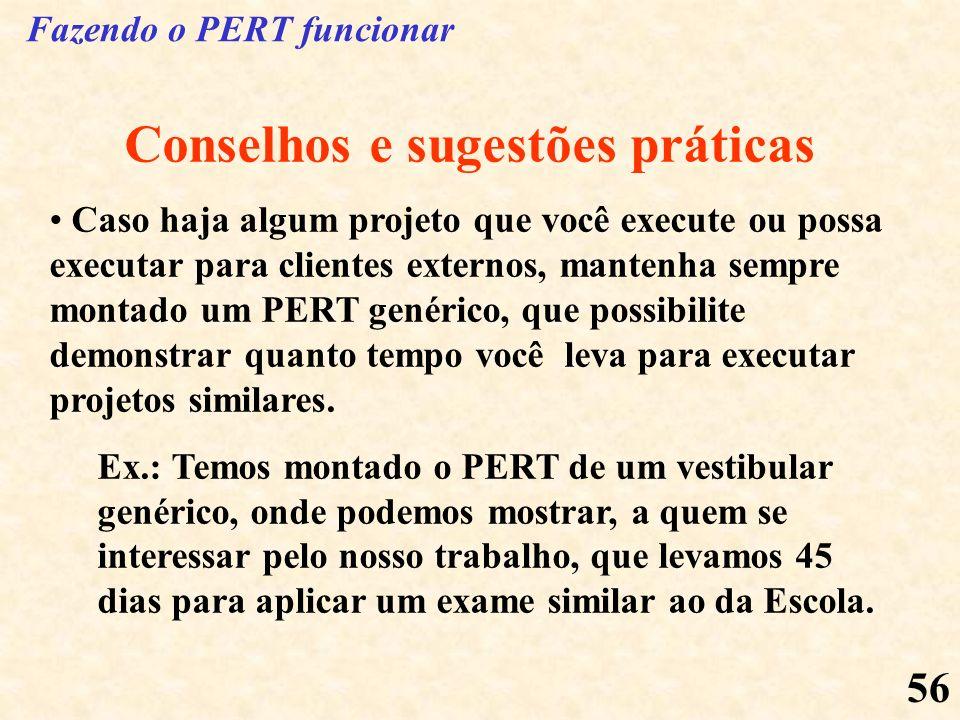 56 Conselhos e sugestões práticas Caso haja algum projeto que você execute ou possa executar para clientes externos, mantenha sempre montado um PERT g