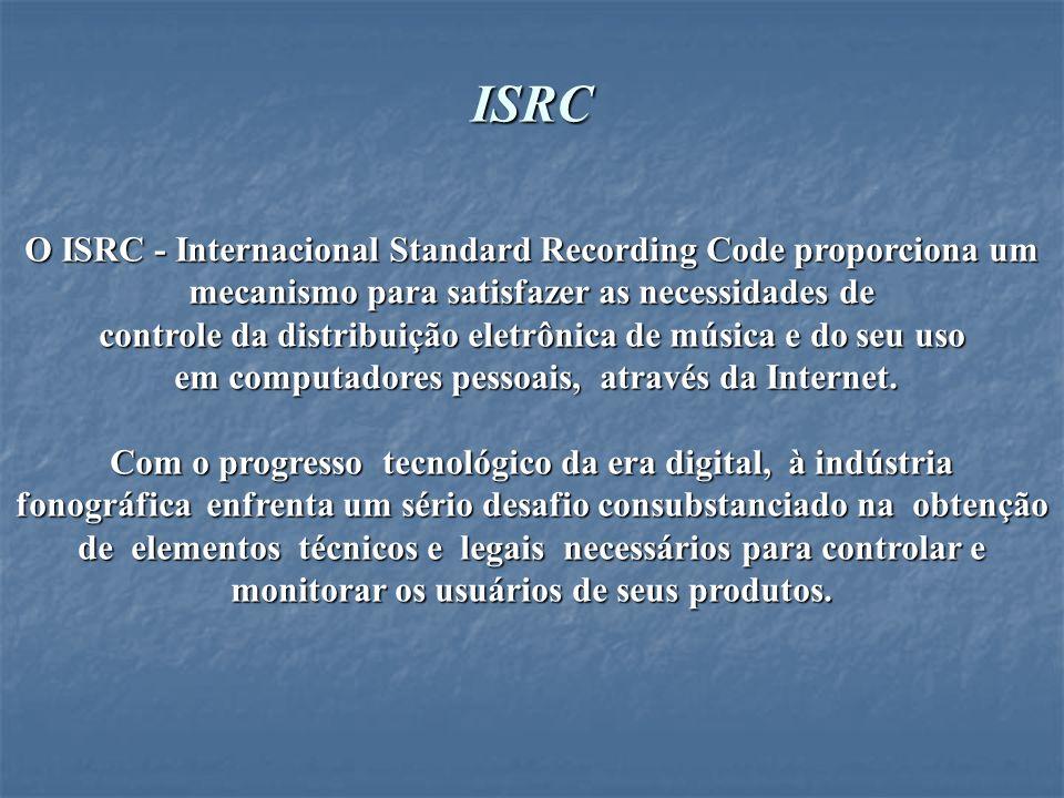 ISO-Organização Internacional de Normalização, em 1986 adotou o ISRC para identificar as gravações -sonoras e audiovisuais- que é conhecido como Norma Internacional ISSO 3901.