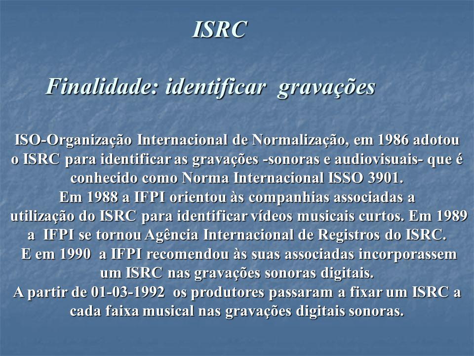 O ISRC é um código padrão internacional de gravação que age como um identificador básico das gravações fonográficas.