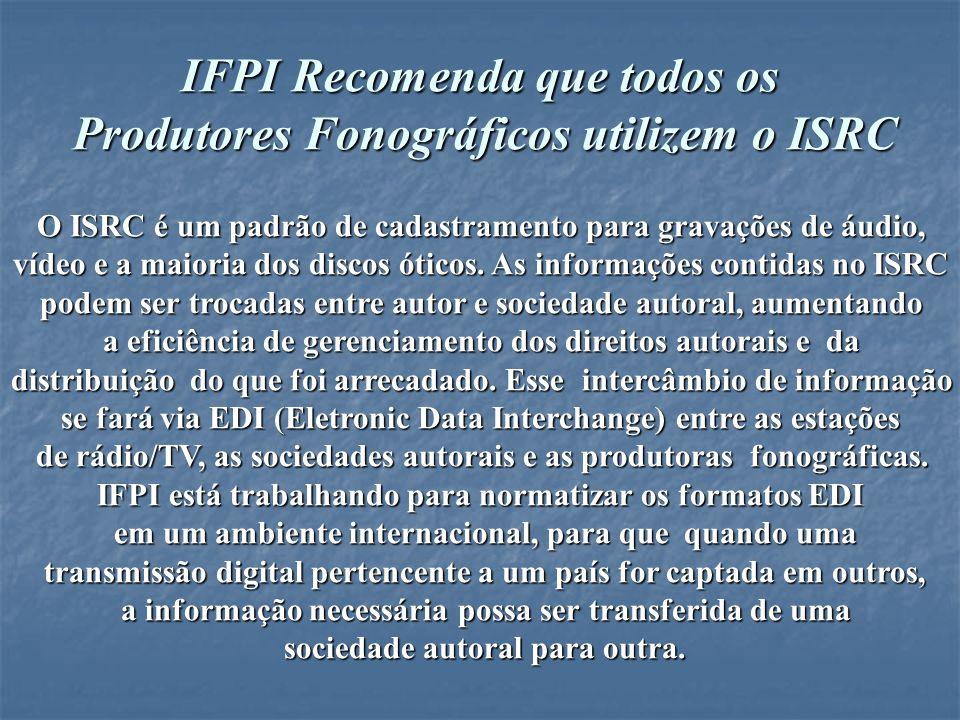 ISO Internacional Organization for Standardisation Estrutura Internacional IFPI International Registration Authority ISRC National Agencies Sociedades Autorais Agencia IFPI SOCINPRO Produtores Fonográficos