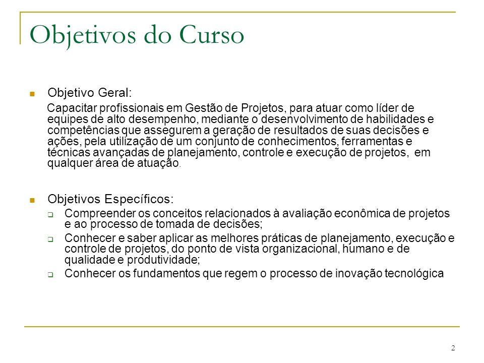 2 Objetivos do Curso Objetivo Geral: Capacitar profissionais em Gestão de Projetos, para atuar como líder de equipes de alto desempenho, mediante o de