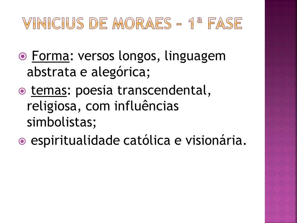 Forma: versos longos, linguagem abstrata e alegórica; temas: poesia transcendental, religiosa, com influências simbolistas; espiritualidade católica e visionária.