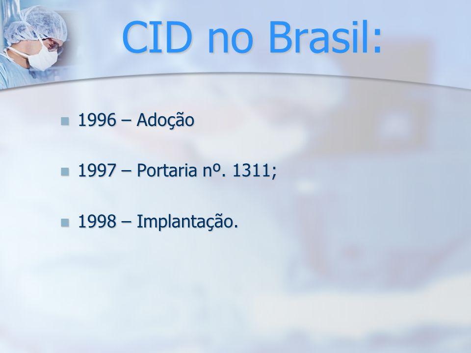 CID no Brasil: 1996 – Adoção 1996 – Adoção 1997 – Portaria nº. 1311; 1997 – Portaria nº. 1311; 1998 – Implantação. 1998 – Implantação.