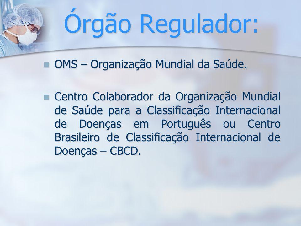 Órgão Regulador: OMS – Organização Mundial da Saúde. OMS – Organização Mundial da Saúde. Centro Colaborador da Organização Mundial de Saúde para a Cla