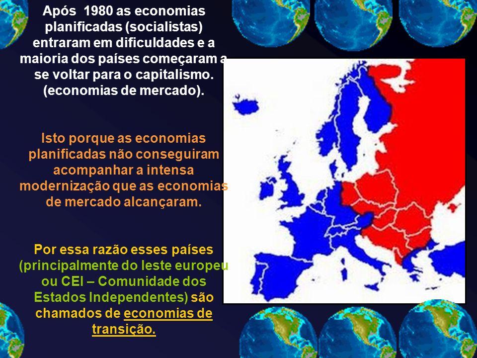 Após 1980 as economias planificadas (socialistas) entraram em dificuldades e a maioria dos países começaram a se voltar para o capitalismo.