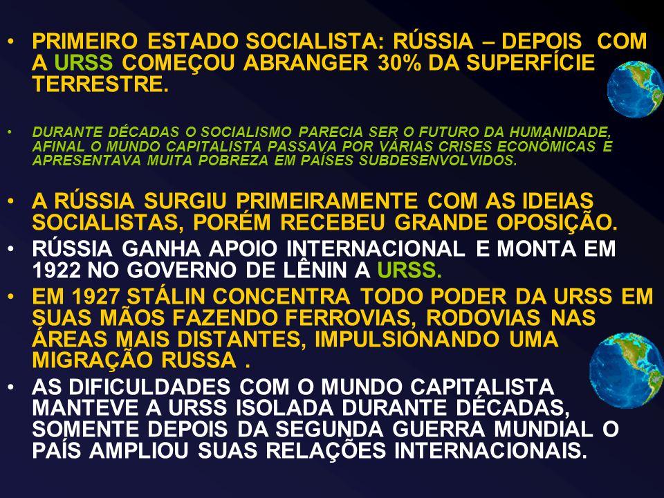 PRIMEIRO ESTADO SOCIALISTA: RÚSSIA – DEPOIS COM A URSS COMEÇOU ABRANGER 30% DA SUPERFÍCIE TERRESTRE.