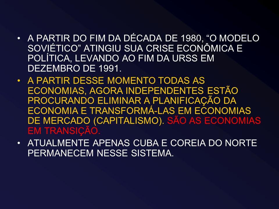 A PARTIR DO FIM DA DÉCADA DE 1980, O MODELO SOVIÉTICO ATINGIU SUA CRISE ECONÔMICA E POLÍTICA, LEVANDO AO FIM DA URSS EM DEZEMBRO DE 1991.