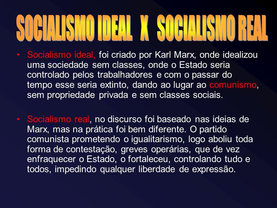 Socialismo ideal, foi criado por Karl Marx, onde idealizou uma sociedade sem classes, onde o Estado seria controlado pelos trabalhadores e com o passar do tempo esse seria extinto, dando ao lugar ao comunismo, sem propriedade privada e sem classes sociais.