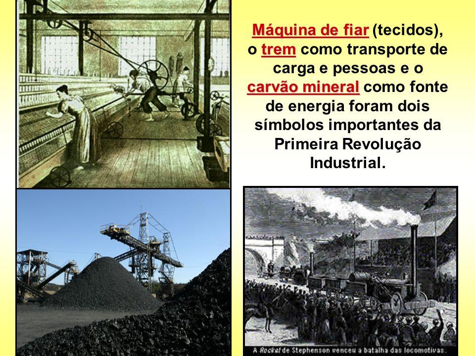 Máquina de fiar trem carvão mineral Máquina de fiar (tecidos), o trem como transporte de carga e pessoas e o carvão mineral como fonte de energia fora