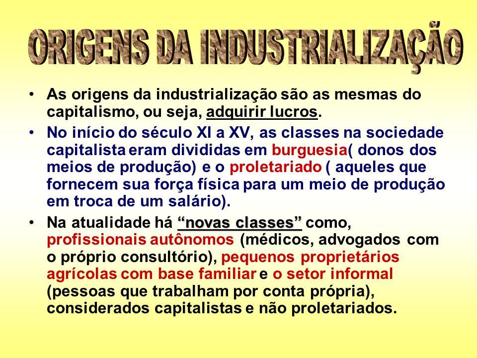 As origens da industrialização são as mesmas do capitalismo, ou seja, adquirir lucros. No início do século XI a XV, as classes na sociedade capitalist