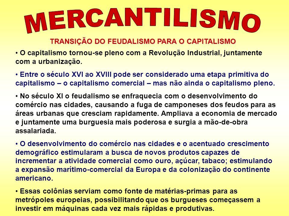 TRANSIÇÃO DO FEUDALISMO PARA O CAPITALISMO O capitalismo tornou-se pleno com a Revolução Industrial, juntamente com a urbanização. Entre o século XVI