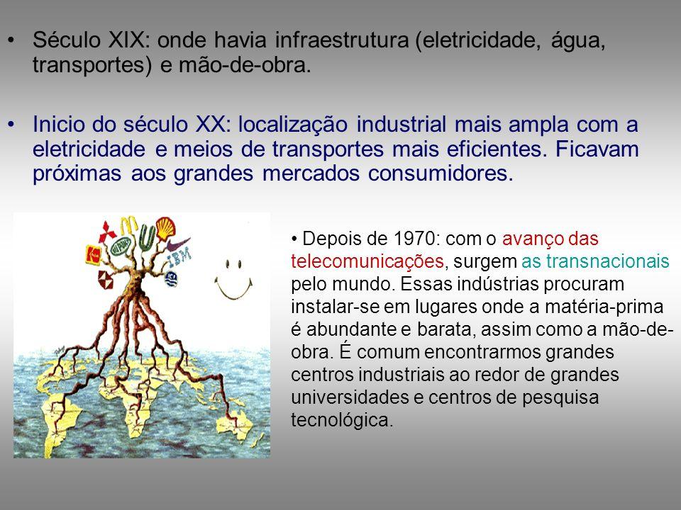 Século XIX: onde havia infraestrutura (eletricidade, água, transportes) e mão-de-obra. Inicio do século XX: localização industrial mais ampla com a el