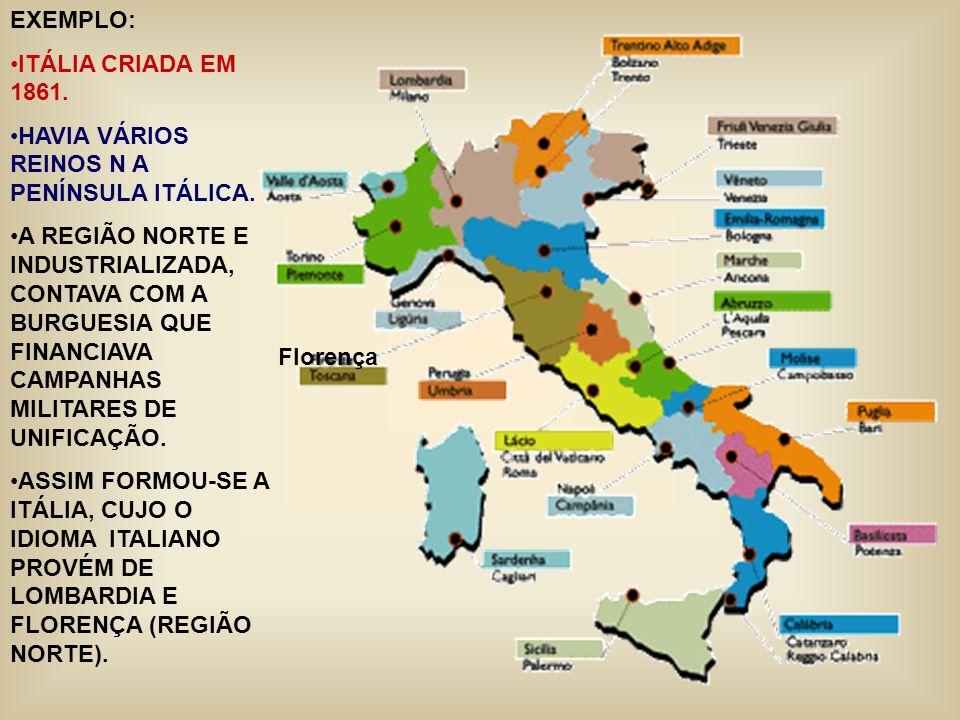 Florença EXEMPLO: ITÁLIA CRIADA EM 1861. HAVIA VÁRIOS REINOS N A PENÍNSULA ITÁLICA. A REGIÃO NORTE E INDUSTRIALIZADA, CONTAVA COM A BURGUESIA QUE FINA