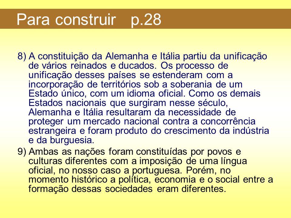 Para construir p.28 8) A constituição da Alemanha e Itália partiu da unificação de vários reinados e ducados. Os processo de unificação desses países