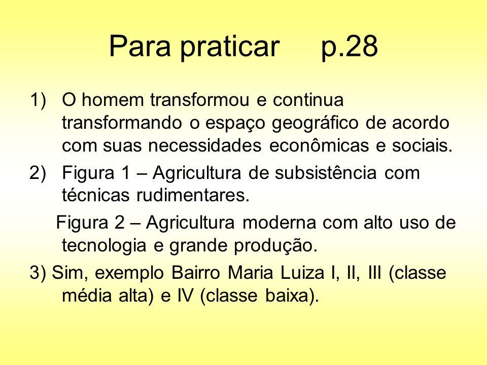 Para praticar p.28 1)O homem transformou e continua transformando o espaço geográfico de acordo com suas necessidades econômicas e sociais. 2)Figura 1