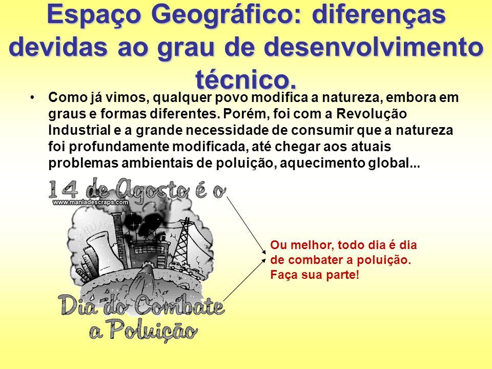 Espaço Geográfico: diferenças devidas ao grau de desenvolvimento técnico. Como já vimos, qualquer povo modifica a natureza, embora em graus e formas d