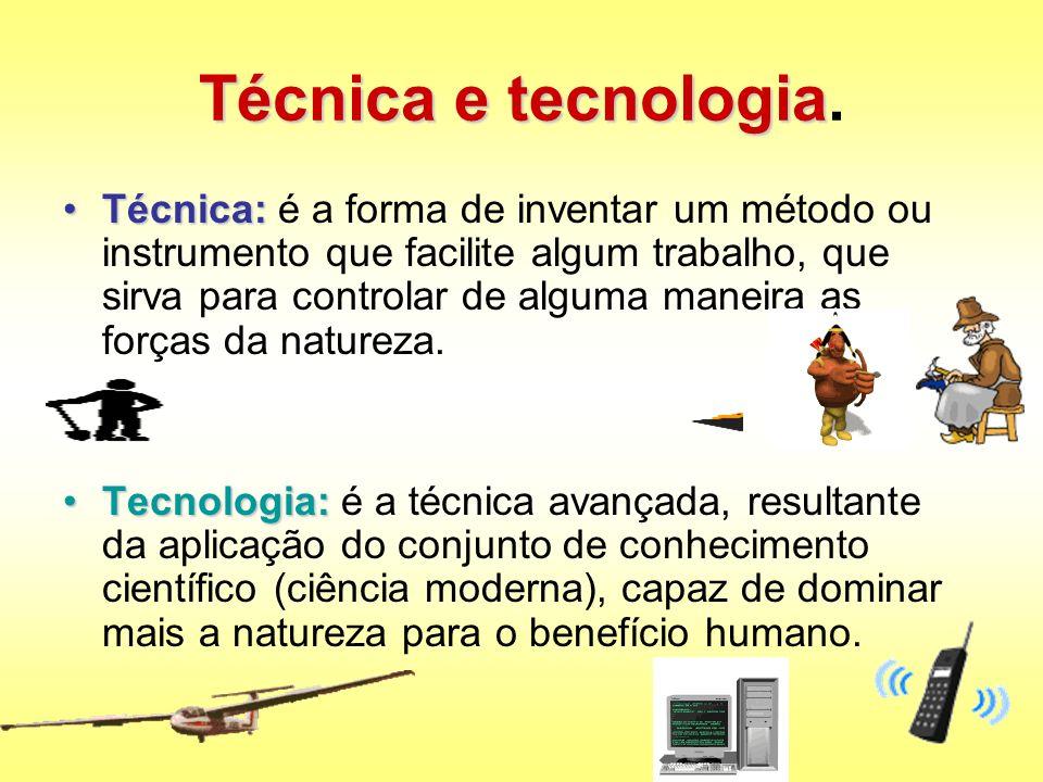 Técnica e tecnologia Técnica e tecnologia. Técnica:Técnica: é a forma de inventar um método ou instrumento que facilite algum trabalho, que sirva para