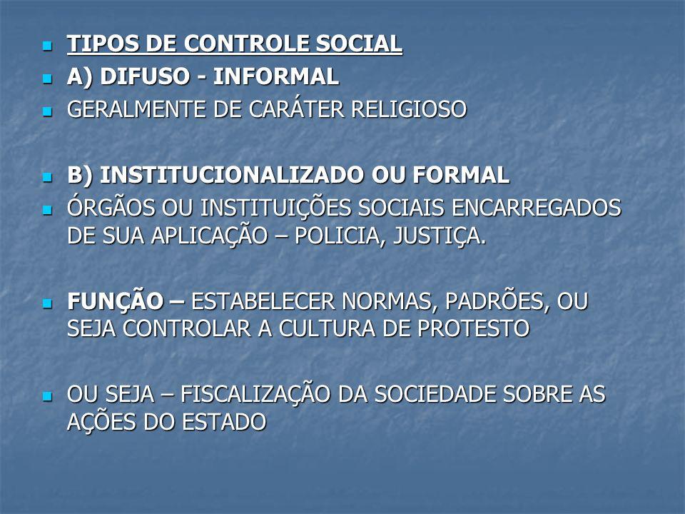 TIPOS DE CONTROLE SOCIAL TIPOS DE CONTROLE SOCIAL A) DIFUSO - INFORMAL A) DIFUSO - INFORMAL GERALMENTE DE CARÁTER RELIGIOSO GERALMENTE DE CARÁTER RELI
