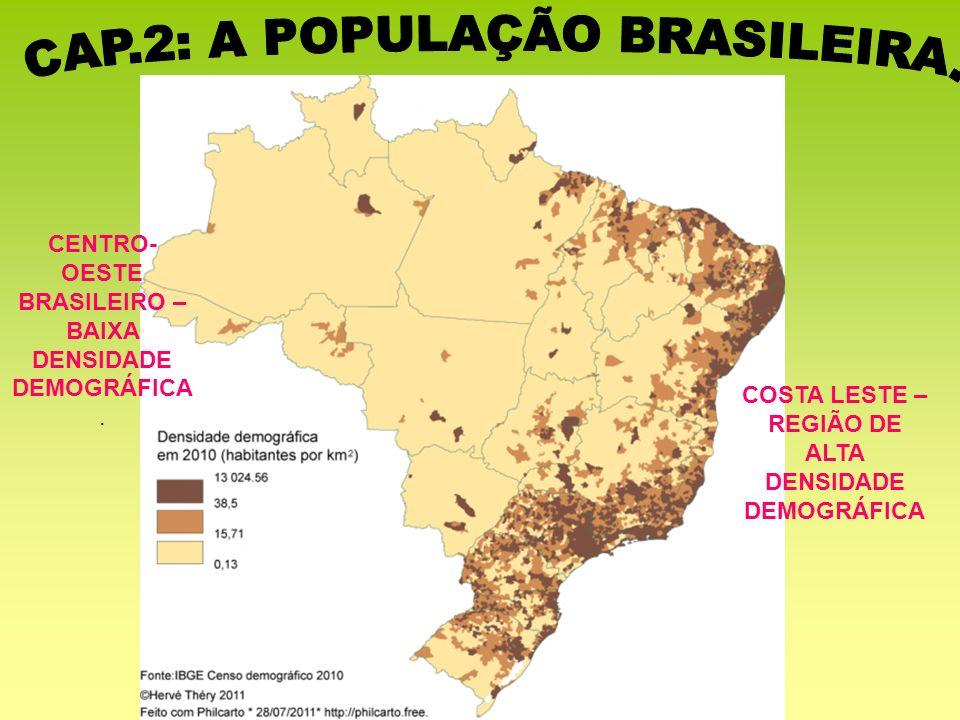 COSTA LESTE – REGIÃO DE ALTA DENSIDADE DEMOGRÁFICA CENTRO- OESTE BRASILEIRO – BAIXA DENSIDADE DEMOGRÁFICA.