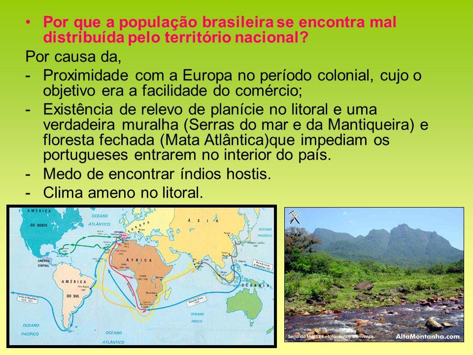 Por que a população brasileira se encontra mal distribuída pelo território nacional? Por causa da, -Proximidade com a Europa no período colonial, cujo