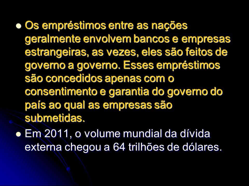 Os empréstimos entre as nações geralmente envolvem bancos e empresas estrangeiras, as vezes, eles são feitos de governo a governo. Esses empréstimos s