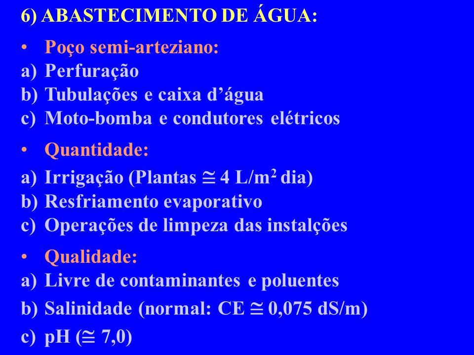 6) ABASTECIMENTO DE ÁGUA: Poço semi-arteziano: a)Perfuração b)Tubulações e caixa dágua c)Moto-bomba e condutores elétricos Quantidade: a)Irrigação (Plantas 4 L/m 2 dia) b)Resfriamento evaporativo c)Operações de limpeza das instalções Qualidade: a)Livre de contaminantes e poluentes b)Salinidade (normal: CE 0,075 dS/m) c)pH ( 7,0)