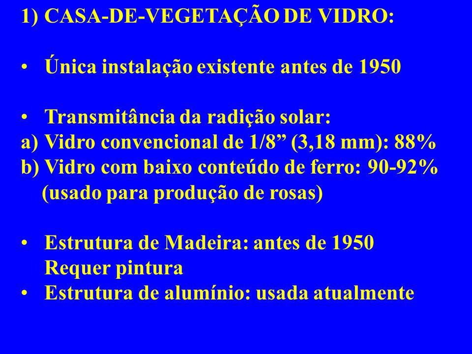 1)CASA-DE-VEGETAÇÃO DE VIDRO: Única instalação existente antes de 1950 Transmitância da radição solar: a)Vidro convencional de 1/8 (3,18 mm): 88% b)Vidro com baixo conteúdo de ferro: 90-92% (usado para produção de rosas) Estrutura de Madeira: antes de 1950 Requer pintura Estrutura de alumínio: usada atualmente