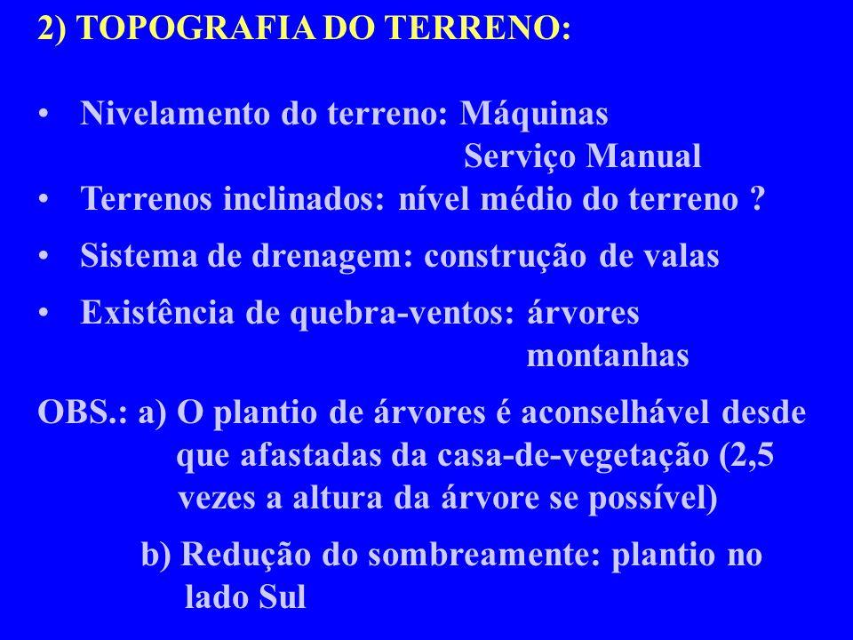 2) TOPOGRAFIA DO TERRENO: Nivelamento do terreno: Máquinas Serviço Manual Terrenos inclinados: nível médio do terreno ? Sistema de drenagem: construçã